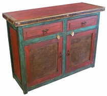 Red & Green Painted Wood Buffet with Metal Panel Doors