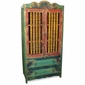 Red & Green Painted Wood Wardrobe