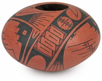 Red Mata Ortiz Native Short Vase