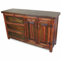 Red Painted Rustic Wood Buffet - 2 Doors - 3 Drawers