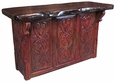 Red Painted Wood Carved Bar with Cedar Top