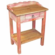 Red Painted Wood Hall Table with Drawer and Shelf