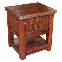 Red Raised Grain Painted Wood Rustic End Table
