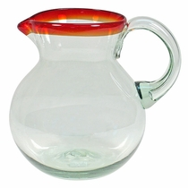 Red Rimmed Hand Blown Glass Pitcher