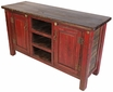 Red Rustic Painted Wood Entertainment Console or Credenza