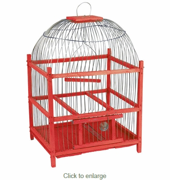 Red Wooden Bird Cage - Round Top