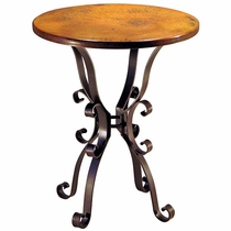 Roman Base Round Bar Table with Copper Top