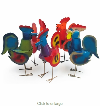 Rooster Painted Metal Yard Art - Assorted