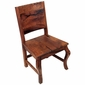 Rope Back Carved Mesquite Dining Chair