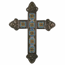 Rosette Tin and Talavera Tile Cross