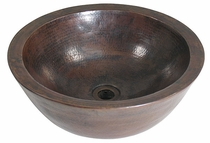 Round Hammered Copper Vessel Sink