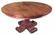 Round Mesquite Carved Dining Table
