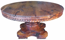 Round Mesquite Carved Dining Table with Thick Base