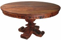 Round Mesquite Dining Table with Scroll Pedestal Base
