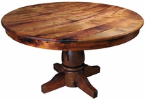 Round Mesquite Dining Table with Turned Pedestal Base