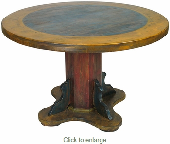 Round Painted Wood Mexican Pedestal Table
