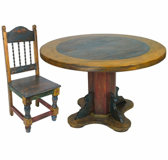 sc 1 st  Direct From Mexico & Round Painted Wood Mexican Pedestal Table u0026 Chairs Set
