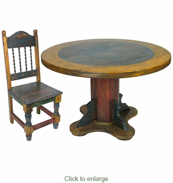 Round Painted Wood Mexican Pedestal Table & Chairs Set