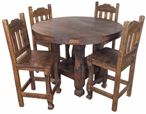 Round Rustic Wood Counter Height Bistro Table Set with 4 Stools