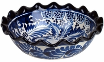 Round Scalloped Blue & White Talavera Serving Bowl