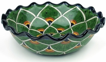 Round Talavera Scalloped Serving Bowl - Peacock Pattern