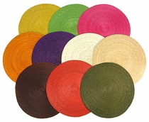 Set of 6 - Round Woven Palm Placemats - 9 Color Choices
