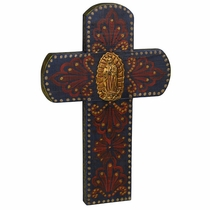 Hand Painted Mexican Folk Art Wood Cross With Milagro Virgin of Guadalupe