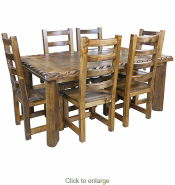 Awesome Rustic Alder Dining Set With Scalloped Top Edge   7 Piece Set