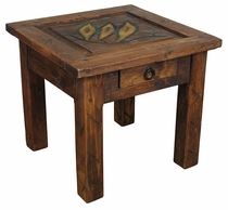 Rustic Carved Top Wooden End Table