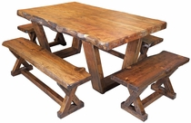 Rustic Cedar Dining Table with 4 Benches
