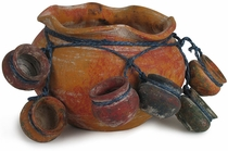 Rustic Clay Pot with Hanging Mini Pots