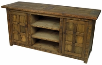 Rustic Flat Screen TV Console with Southwest Carving