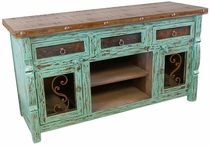 Rustic Green Painted Wood Ox Yoke TV Console with Iron Accents