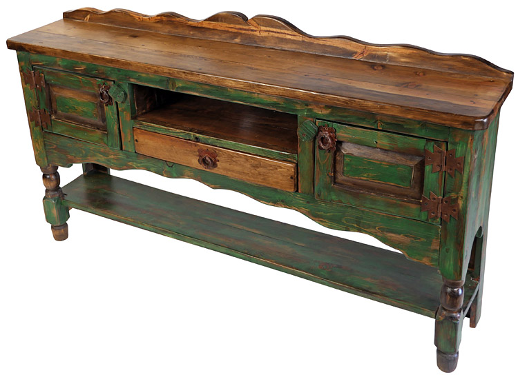 Amazing Rustic Green Painted Wood Turned Leg Buffet Table With 2 Doors, 1 Drawer  And Shelf