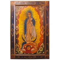 Rustic Handpainted Frame with Virgin on Canvas