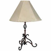Wrought iron floor and table lamps from mexico rustic iron curled leg table lamp aloadofball Image collections
