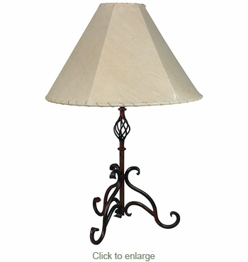 Iron curled leg table lamp rustic iron curled leg table lamp aloadofball Image collections