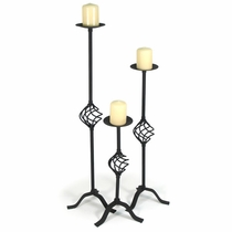 Rustic Iron Spiral Floor Candlesticks - Set of 3