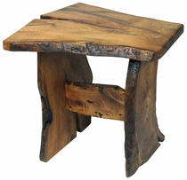 Rustic Mesquite Bookmatched Top End Table