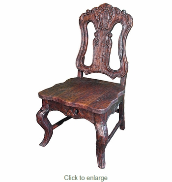 Rustic Mesquite Carved Dining Chair