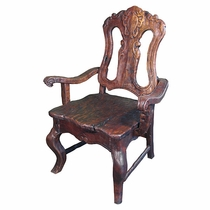 Rustic Mesquite Carved Dining Chair with Arms