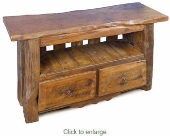 Rustic Mesquite Log and Slab TV Stand