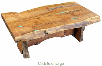 Rustic Mesquite Slab Coffee Table with Turquoise Inlay