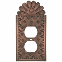 Rustic Metal Outlet Cover - Flower & Crown