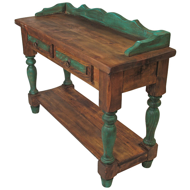 Remarkable Rustic Mexican Colonial Sofa Table With 2 Drawers And Green Caraccident5 Cool Chair Designs And Ideas Caraccident5Info