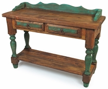 Rustic Mexican Colonial Sofa Table with 2 Drawers and Green Accents