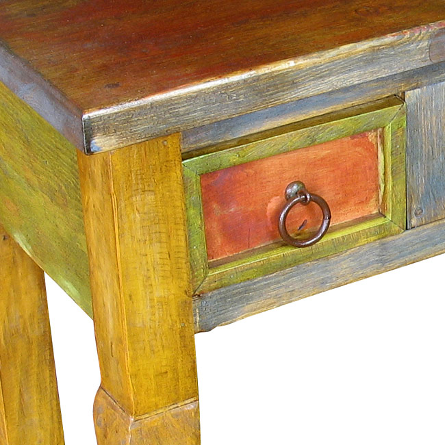 Awe Inspiring Rustic Mexican Painted 3 Drawer Sofa Table Caraccident5 Cool Chair Designs And Ideas Caraccident5Info