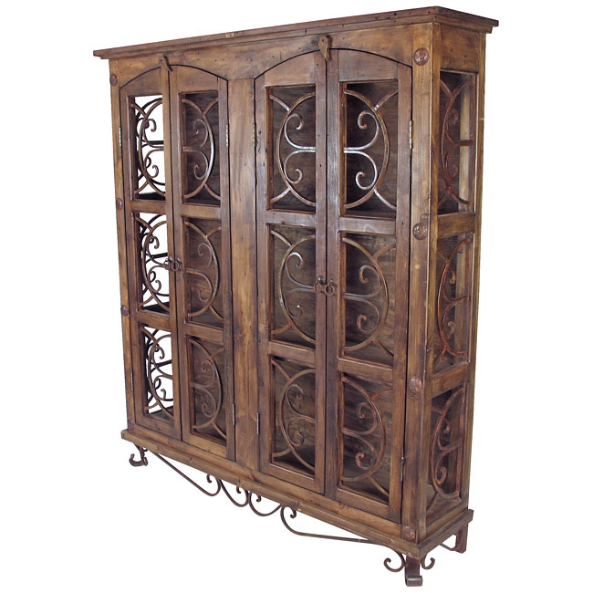 Rustic Old Wood And Iron Display Cabinet, Wrought Iron China Cabinet