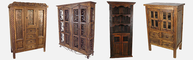 Rustic Old Wood Armoires Cabinets