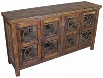 Rustic Old Wood Buffet with Ironwork Doors